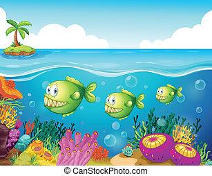 tre, verde, piranhas, sotto, il, mare