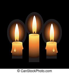 tre, vettore, candele, su, uno, sfondo nero