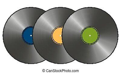 tre, vinyl tecknar uppe