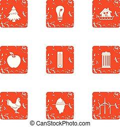 Treacherous life icons set. Grunge set of 9 treacherous life vector icons for web isolated on white background