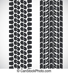 Tread pattern tyre. set of detailed tire prints.