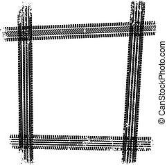 tread - isolated tire tread - grunge frame