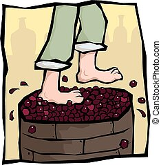 A pair of bare feet crush some red grapes.