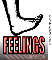 Treading on Feelings - The black outline of a human foot...