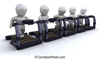 Treadmill - 3D render of men on treadmills