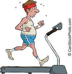 A man on a treadmill vector illustration