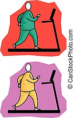 Treadmill - Cartoon image of an overweight woman running on...