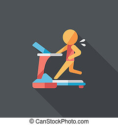 treadmill flat icon with long shadow, eps10