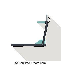 Treadmill icon, flat style