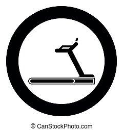 Treadmill machine icon black color illustration in circle round