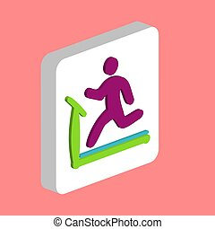 Treadmill Simple vector icon. Illustration symbol design template for web mobile UI element. Perfect color isometric pictogram on 3d white square. Treadmill icons for business project.