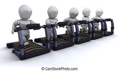 Treadmill - 3D render of men on treadmills