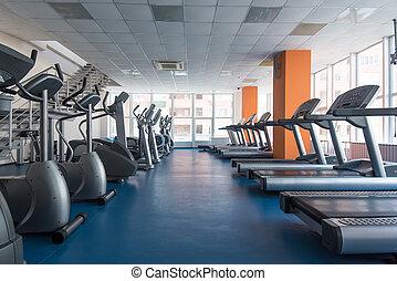 treadmills, в, современное, гимнастический зал