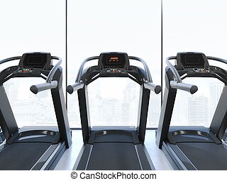 Treadmills in interior with big clear windows. 3d rendering