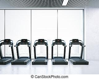 Treadmills in interior with big windows. 3d rendering