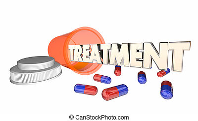 Treament Medicine Prescription Medical Cure Pill Bottle 3d Illustration