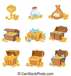 Treasure And Riches Set Of Graphic Design Elements. Cute...