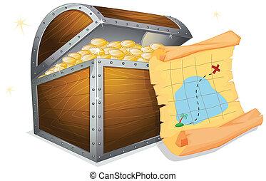 Treasure Box - Illustration of a treasure box and a map