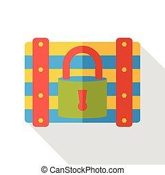Treasure box flat icon