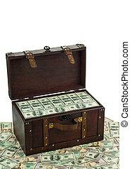 Treasure box of dollar bills
