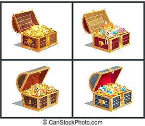 Treasure Box Poster Collection Vector Illustration