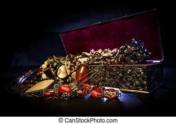 Treasure box - Silver treasure box in the dark, full of...