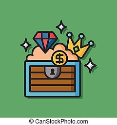 Treasure box vector icon