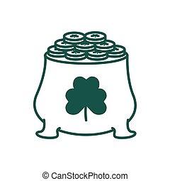 treasure cauldron with clover leaf line style