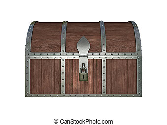 3D digital render of a locked treasure chest isolated on white background