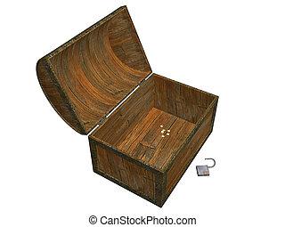 Treasure chest - 3D render of empty treasure chest