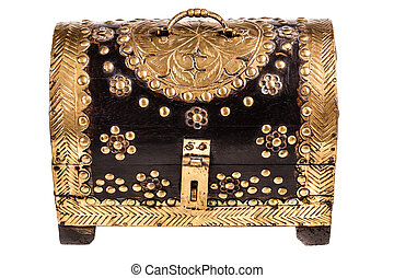 Treasure chest - an ornated golden chest isolated over a...