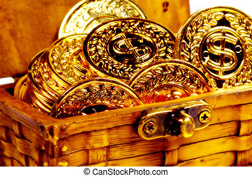 Chest Filled With Gold Coins. Color and Blur Effect.