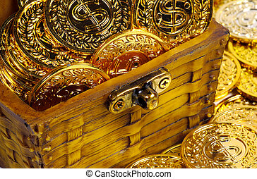 Chest Filled With Gold Coins.
