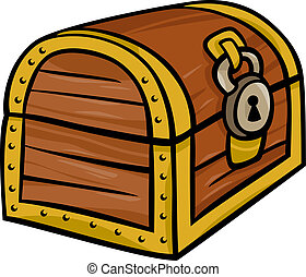 treasure chest clip art cartoon illustration - Cartoon...