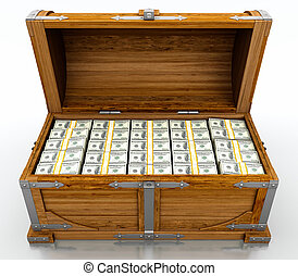 Treasure chest full of dollar bills on white background