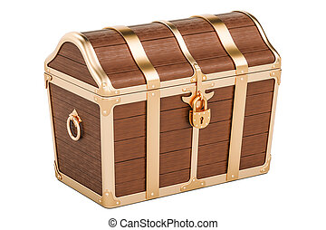 Treasure chest, closed. 3D rendering