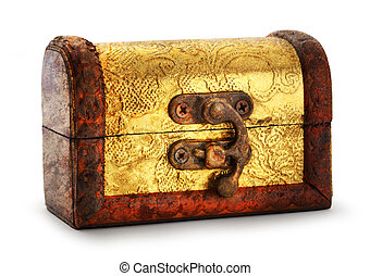 Treasure chest - Closed treasure chest with golden...