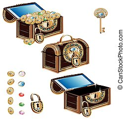 Treasure Chest decorated jewelry ornament set