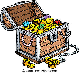 Treasure chest drawing - vector illustration.