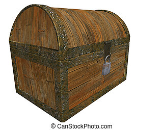 Treasure chest - 3D render of a locked treasure chest
