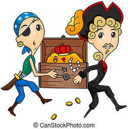 Treasure Chest - Pirates Carrying Treasure Chest with...