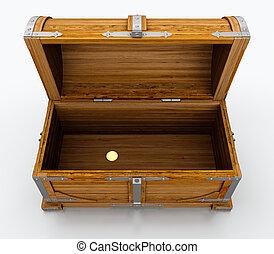 Treasure chest - Empty treasure chest isolated on white...