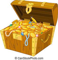 Treasure chest - Illustration of treasure chest full of gold...