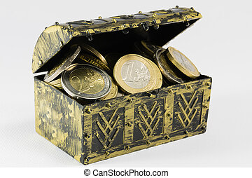 treasure chest filled with coin, euro currency - treasure ...