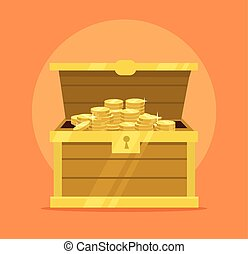 Treasure chest full of gold coins