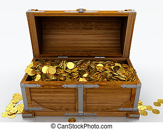 Treasure chest full of golden coins on white background
