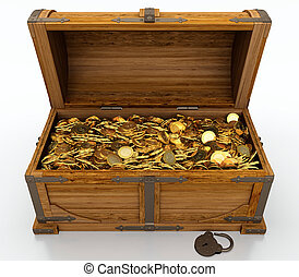 Treasure chest full of golden coins on white background