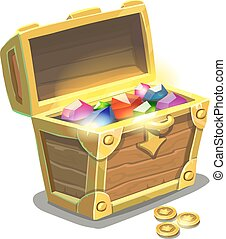 Treasure chest full of jewels, cartoon vector illustration