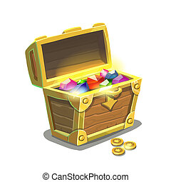 Treasure chest full of jewels isolated - Treasure chest full...