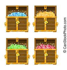 Treasure chest full of various diamonds.